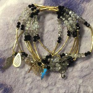 Jewelry - Artesanal Crystal Bracelets(7)w/18kt Plated Charms